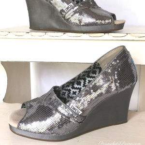 TOMS Silver Sequin Peep-Toe Wedges
